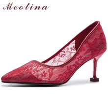 Meotina High Heels Women Pumps Sexy Lace Kitten High Heel Wedding Shoes Cutout Pointed Toe Ladies Shoes 2019 Fall Red Size 33-39