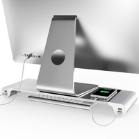 LESHP Universal Aluminum 4 Ports USB Laptop Computer Monitor Holder Bracket Save Space Heighten Stand For PC Computer For Apple