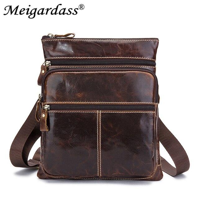 cf7d445a9 Moda bolsa de mensajero hombro de los hombres de cuero genuino Bolso  pequeño hombre Crossbody bolsas