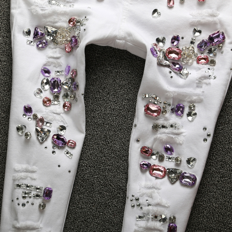 De Vaqueros Delgado Hembra Elástico Slim Diamante Ripped Para Blanco Mujeres Moda Pantalones 4qR5CxS