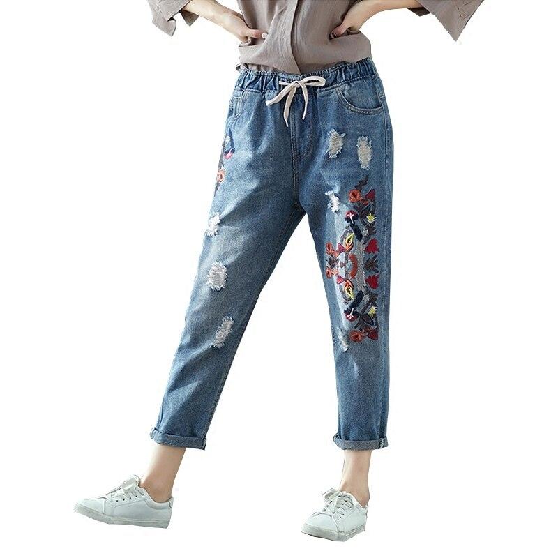 Vintage Elastic Waist Floral Embroidery Jeans Casual Ripped Woman Holes Denim Pants Trousers Women Harem Pants Plus Size 3XL