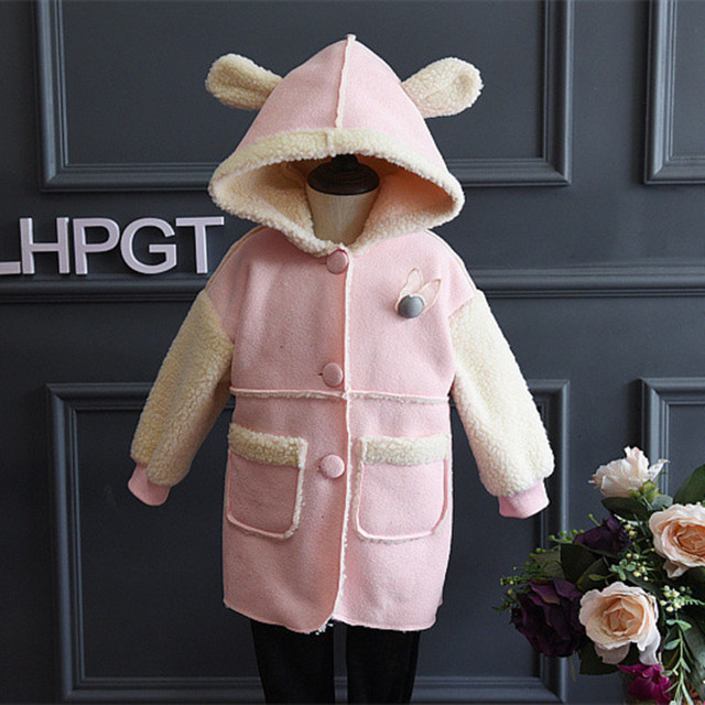 2016 Children Girls Winter Outwear Fashion England Style Single-breasted Sheepskin Suede Hooded Children Jackets&Coats For 2-8Y