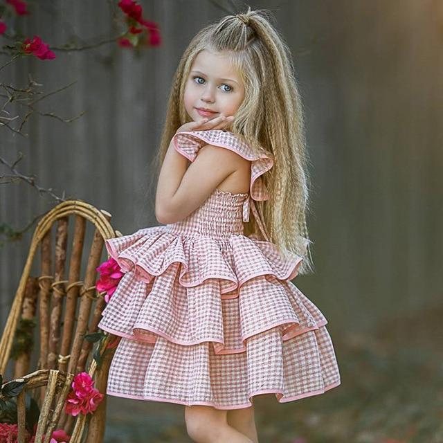 Rosa Vestidos de Princesa para As Meninas Manga Sopro Em Camadas Vestido de Baile Vestido de Festa de Aniversário para Crianças Meninas Roupas Vestido Xadrez Rosa