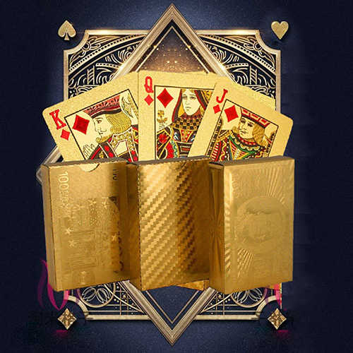 Luxus Goldfolie Poker Spielen Karten Dollar EUR Plaid Muster Party Spielen Spiel