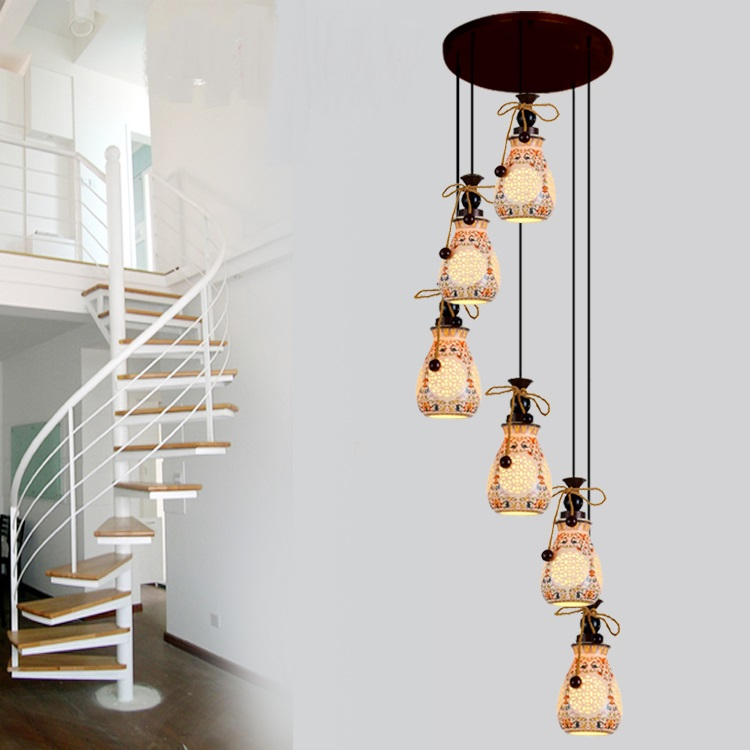 Stairs Ceramic Chinese style lamps double floor stairs pendant lights modern stairs lamps rotary type circling corrid ZA ZS19 porcelain ceramic stairs lights ceramic pattern chinese pendant lights rotating staircase lamp restaurant pendant lamps za
