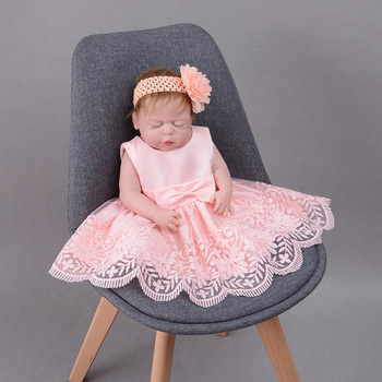 Christening Dress Baby Girl Baptism Gown Lace White Pink 2020 High Quality Customes Autumn outfits long sleeves set with hat baby christening dress empire waistline short sleeves lace appliques ruffled baby girl baptism birthday gowns hot sale