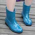 Plus size  fashion candy color rain boots mid-calf rainboots women's water shoes slip-resistant women's shoes rubber work shoes