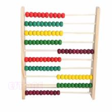 Wooden Abacus 10-row Colorful Beads Counting Kid Maths Learn