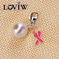Pink Ribbon Simulated Pearl Charm Women Style High Quality Silver Bijoux For Ladies DIY Accessories NEW