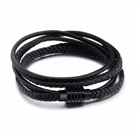 FATE LOVE Brand Men Black Punk PU Leather Rope Wrap Bracelet Bangles For Boyfriend With Metal