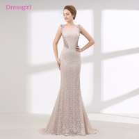 See Through Evening Dresses 2018 Mermaid Cap Sleeves Lace Pearls Women Elegant Long Evening Gown Prom