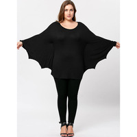 LANGSTAR 2017 New Autumn Women Tops Plus Size Casual Halloween Batwing Long T Shirt Scoop Neck