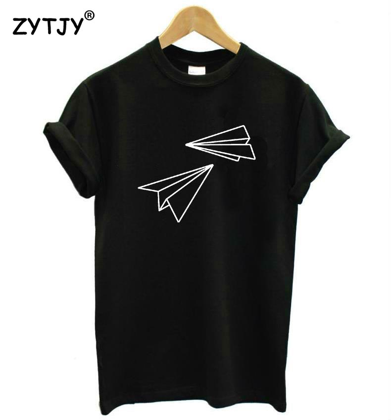 Paper Airplane Print Women tshirt Cotton Casual Funny   t     shirt   For Lady Top Tee Hipster Tumblr Drop Ship Z-972