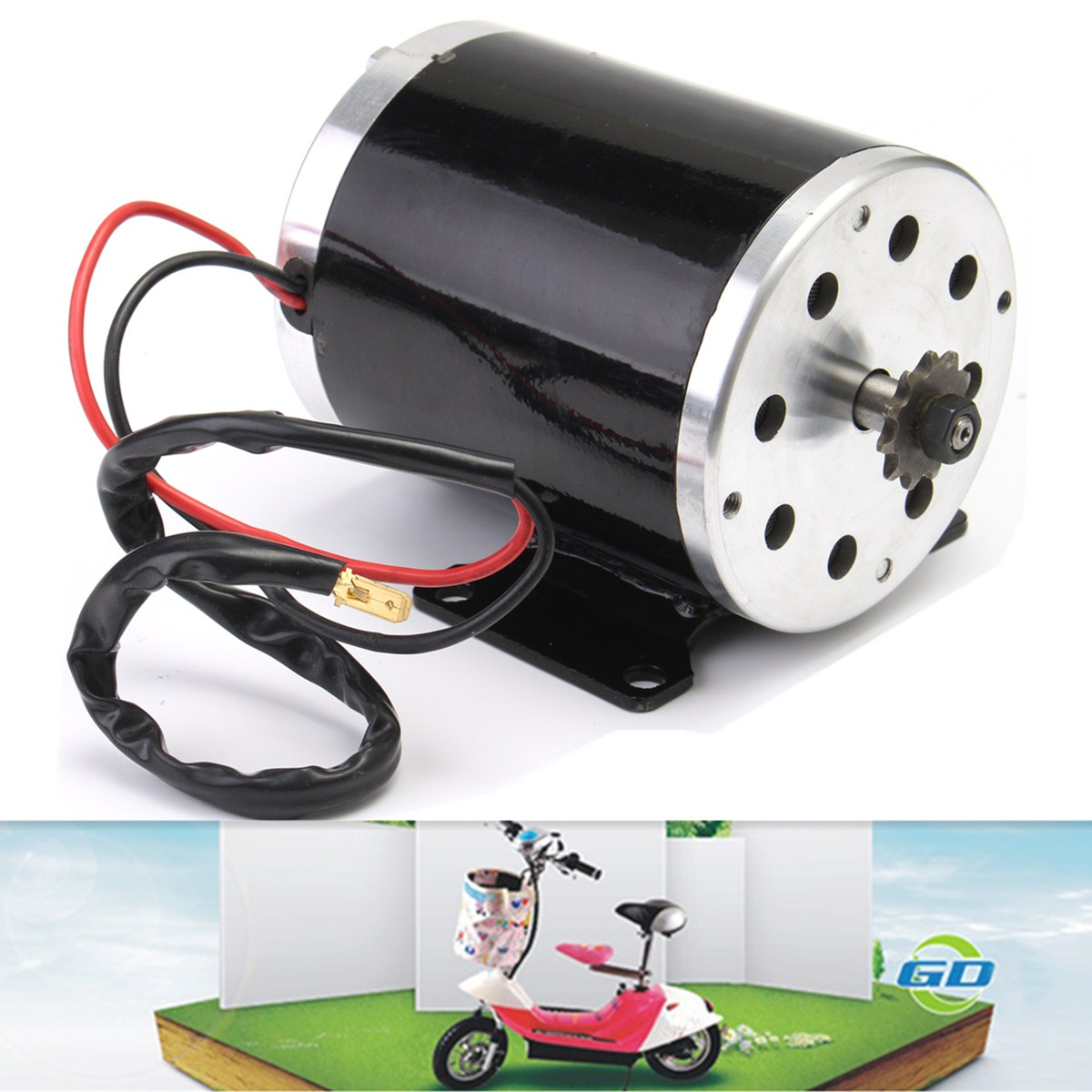 1Pcs 500W 24V DC electric brush ZY1020 Motor with Base for Escooter Ebike Kart DIY Project cnc dc spindle motor 500w 24v 0 629nm air cooling er11 brushless for diy pcb drilling new 1 year warranty free technical support