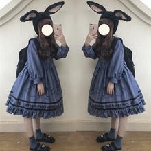 Игрушечный медведь, винтажный стиль, женское платье лолиты, платье с длинными рукавами, милое осенне-зимнее платье для девочек, цельное, серое, синее