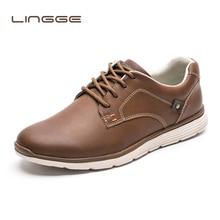 LINGGE/брендовая мужская кожаная повседневная обувь; новые кожаные туфли; мужские дизайнерские стильные туфли на плоской подошве; модная повседневная обувь на шнуровке для мужчин