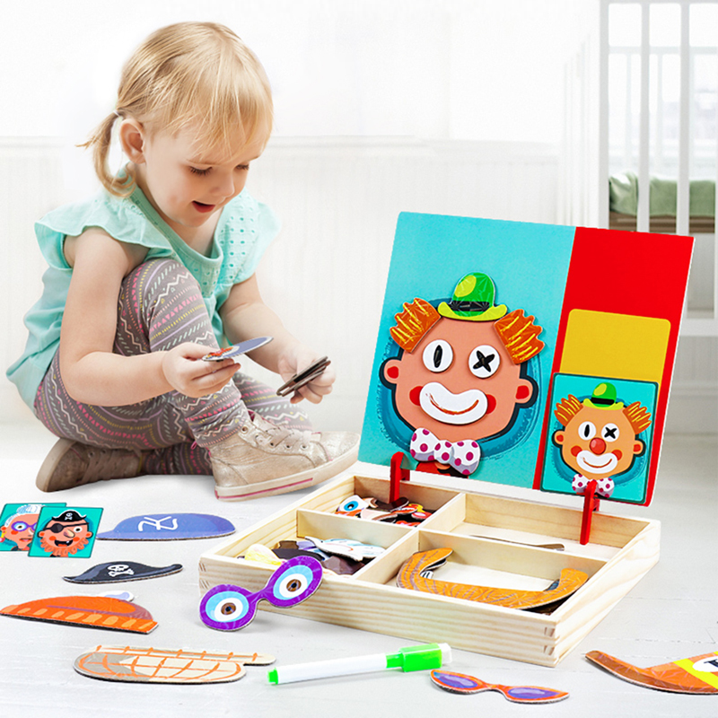 Puzzle Game Wooden Toys for Children  Multi-function Puzzle Magnetic Patch