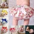 Lazo de seda de satén floral bloomer cubierta del pañal del bebé del tutú volantes bragas infantiles pantalones del bebé culottes bouffantes de bebe