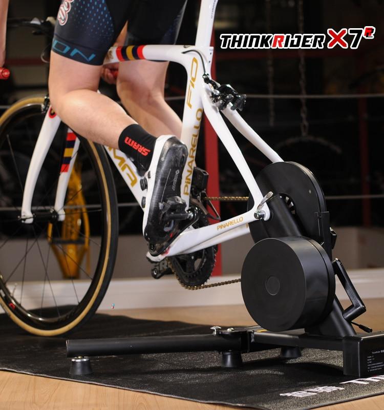 Thinkrider X7 vtt vélo route vélo entraîneur de vélo intelligent pour la conception de cadre en Fiber de carbone intégré compteur de puissance vélo formateurs plate-forme