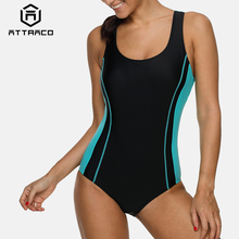 Attraco One Piece Women Sports Swimwear Swimsuit Athletic Beachwear Bathing Suit Padded Monikini Backless Bikini