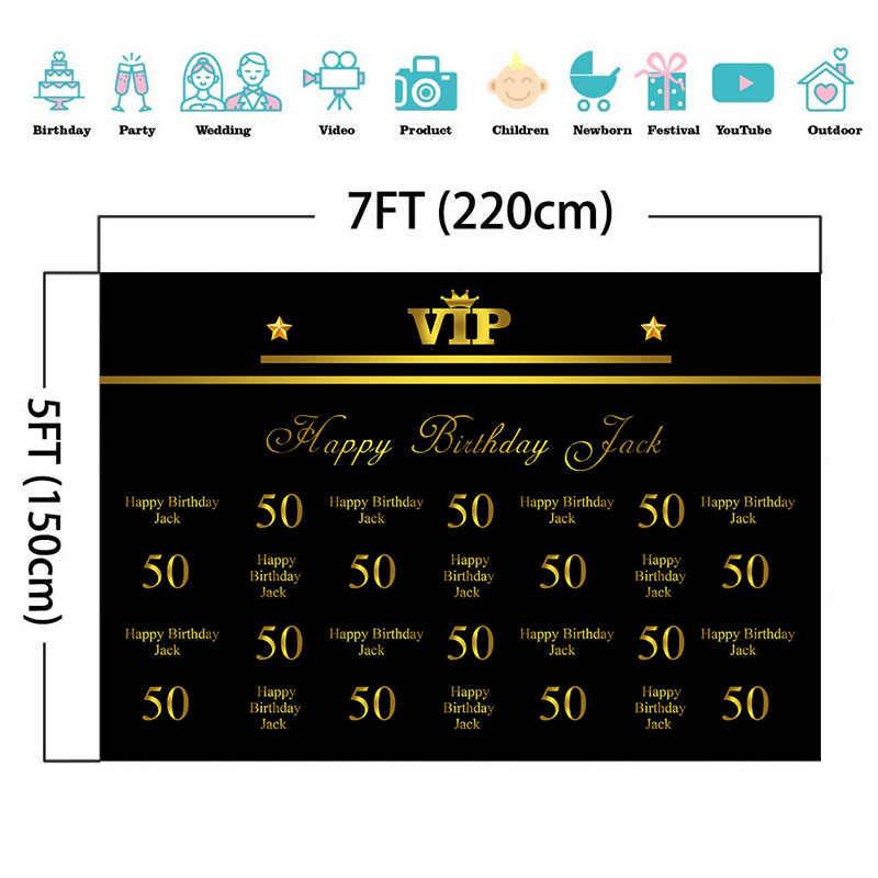 Ouro 50th 40th 60th Aniversário Pano de Fundo Tamanho Personalizado Nome Número de Cenários de Fotografia Fundo VIP Repita O Passo da Festa de Aniversário