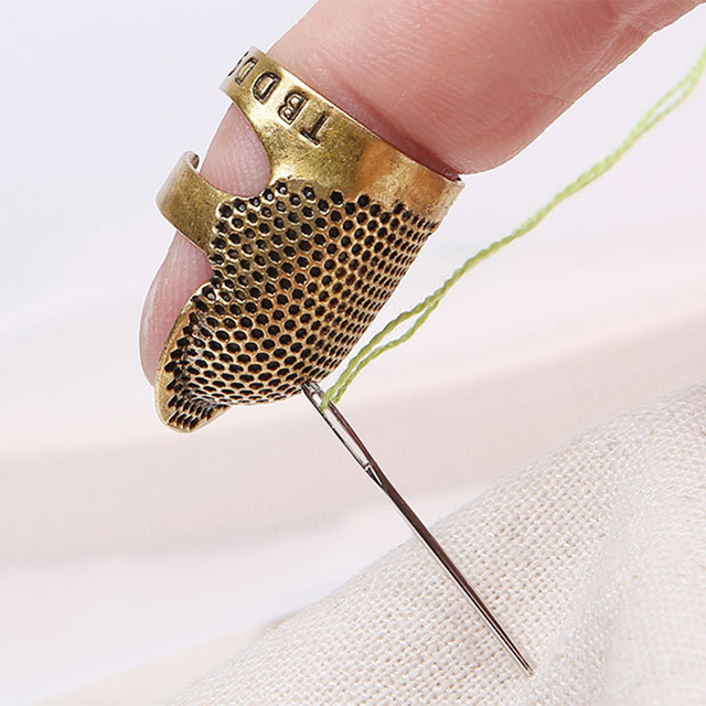 Metal Retro dedal para coser agujas Pin dedo Vintage dedal para coser DIY herramienta de costura y suministros de tejer