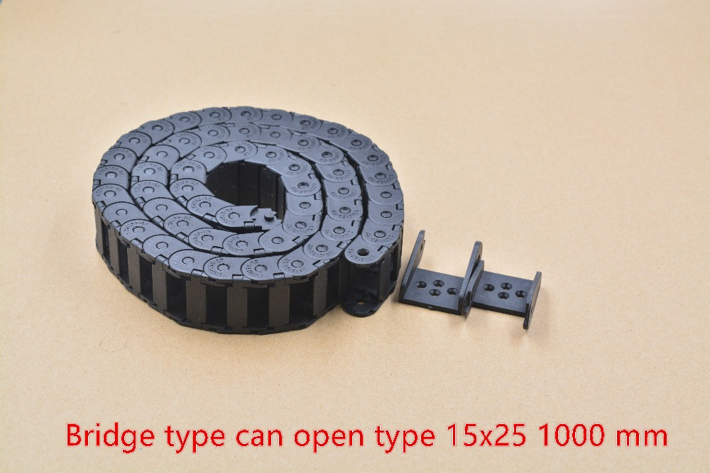 bridge type can open plastic 15mmx25mm drag chain with end connectors length 1000mm engraving machine cable