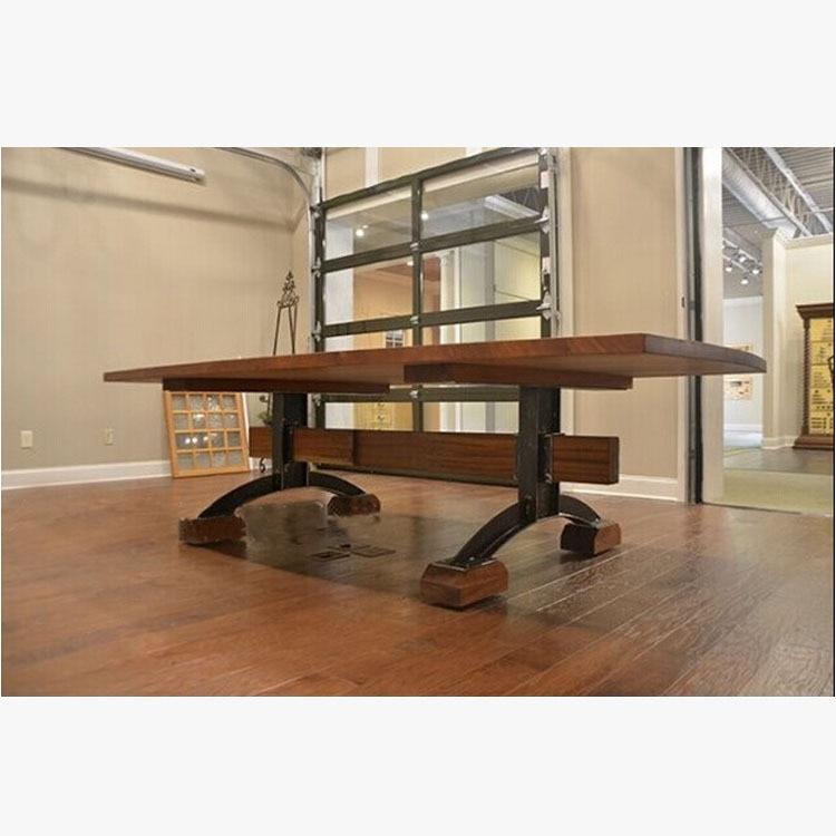 american village loft industrial style table vintage wood desk original wooden tables wrought iron work american retro style industrial furniture desk