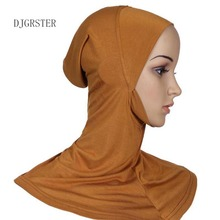 DJGRSTER Soft Stretchble Muslim Sport Inner Hijab Caps Islamic Underscarf Hats Crossover Classic Style Hijab Headwear Full Cover