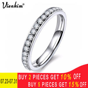 Vienkim Crystals Rings Minimalist-Ring Wedding-Jewelry CZ Austrian Stainless-Steel Silver-Color