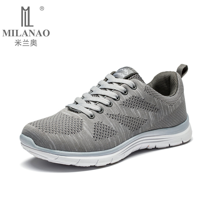 2019 MILANAO New Men Summer Casual Flyknit Racer Walking Shoes For Man & Women Breathable Sneakers Men's Krasovki zapatillas-in Men's Casual Shoes from Shoes    3