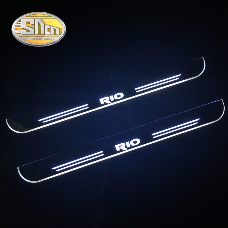 SNCN Waterproof Acrylic Moving LED Welcome Pedal Scuff Plate Pedal Door Sill Pathway Light For Kia
