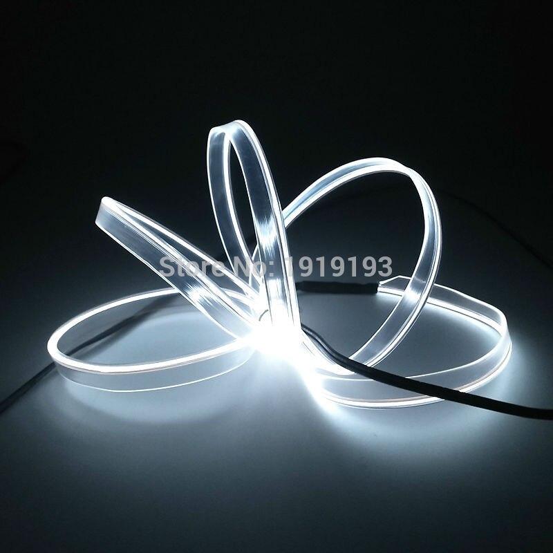 Nueva llegada 10 colores elección 2.3mm-Falda 1-5 M EL cable tira Led Luz de neón para decoración de fiesta de coche alimentado por batería 2-AA