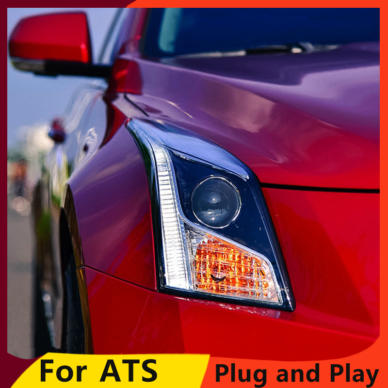 KOWELL Car Styling for Cadillac ATS Headlights 2014 2016 ATS LED Headlight DRL Bi Xenon Lens