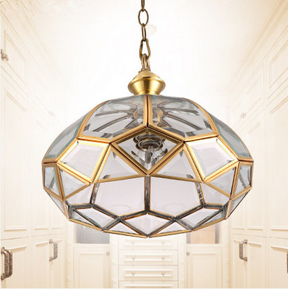 ФОТО European vintage copper&crystal glass circular Pendant lights Handwork soldering E27 LED lamp for porch&pavilion&stairs BRSDD002