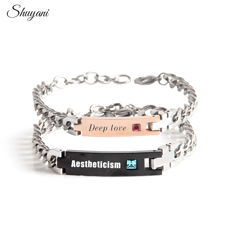 Laser Lover Couple Chain Stailess Steel Bracelets Bangles Engrave