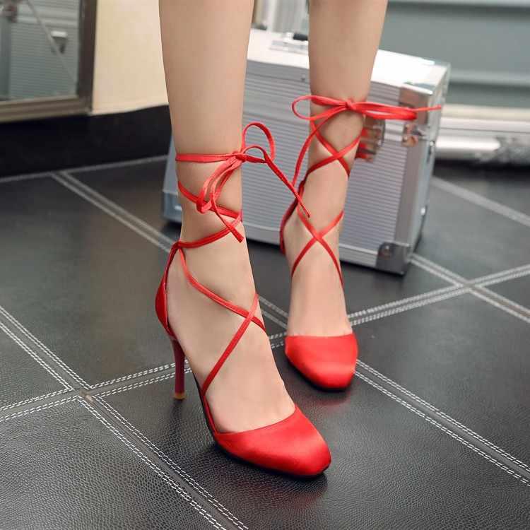 Tamanho grande 11 12 13 14 15 16 sandálias das mulheres sapatos de salto alto senhoras mulher verão Lace-up de seda e satin cross-tie cabeça quadrada