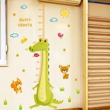 Мультфильм Зеленый Крокодил Стикеры Стены Измерения Роста Ребенка Высота Наклейки Ноги Детская