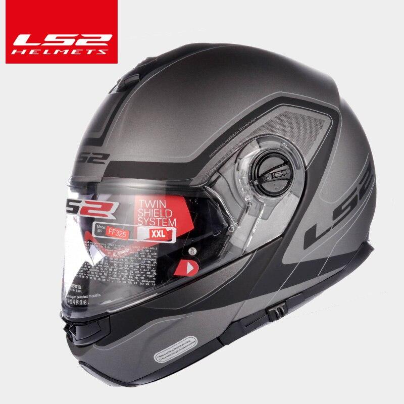 LS2 Magasin Mondial LS2 FF325 flip up moto cycle casque double pare-soleil lentille casque intégral moto racing casques