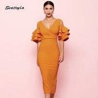 Seamyla 2018 New Elegant Dress Women Sexy Mid Calf Evening Party Dresses White Red Orange Runway Bodycon Midi Dress Vestidos