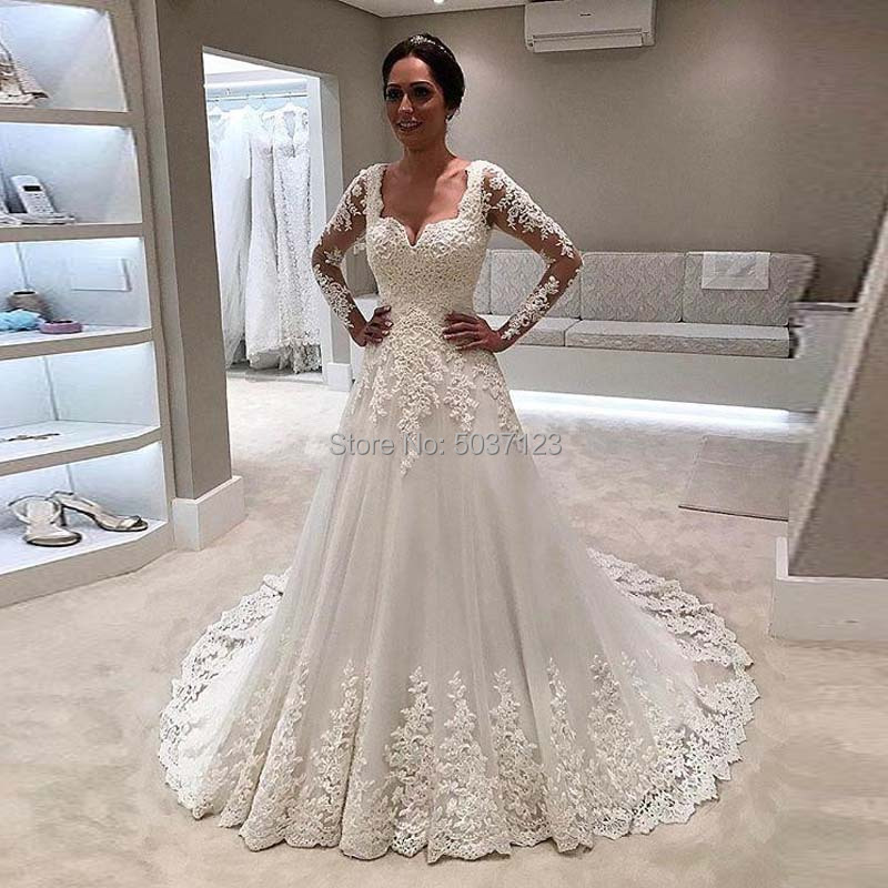 2019 Vintage Wedding Dresses Long Sleeve A Line Lace Applique Bridal Gowns White Floor Length Illusion Vestidos De Novia