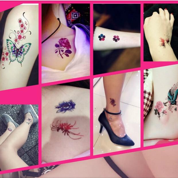 30 Pieces Ensemble Tatouage Temporaire Femme Fleur Papillon 3d Bras
