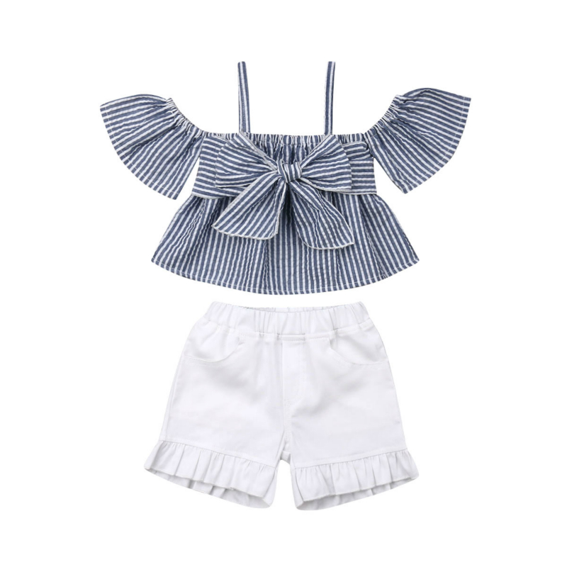 >Hot Sale Toddler Baby Girl Kid Clothes Strap Striped Top T-shirt <font><b>White</b></font> <font><b>Jeans</b></font> Shorts <font><b>Outfit</b></font> Summer Fashion Cool Sets