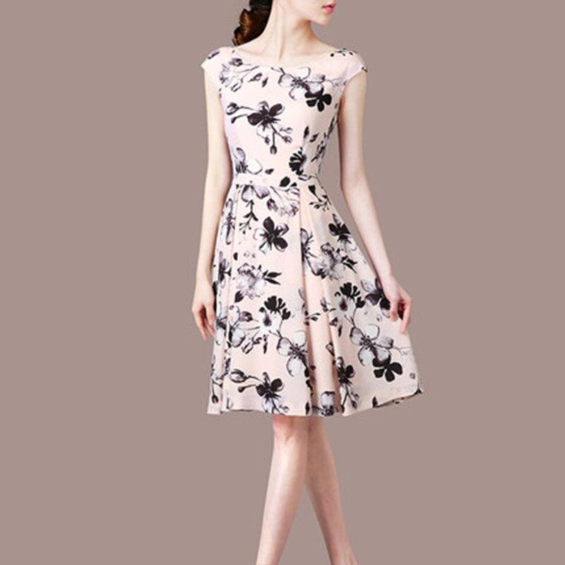 Show Femme Nouveau Xjj237 Robes Mince Tempérament Longues ligne cou Mini Imprimer Mode 2018 O A Été Manches As Robe Élégance Sans De Sections HdBqHU