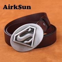 AirkSun 2017 Superman Big Buckle Fashion Punk Big Size Belts For Men Luxury Cowskin Soild Genuine
