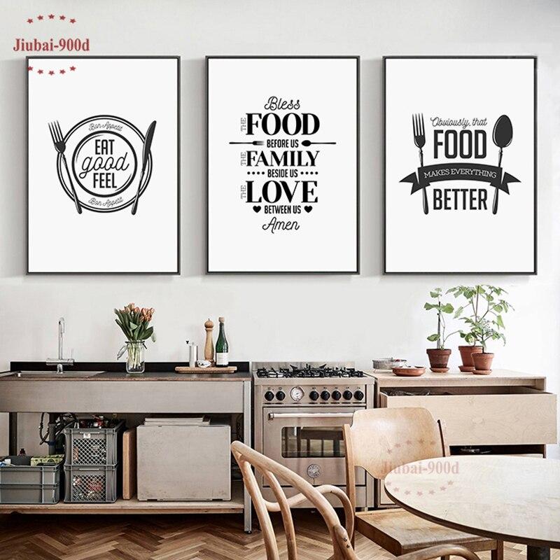 Cuisine Decor Alimentaire Citation Toile Peinture Mur Art