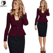 HUOX Plus Size Blazer Women Jackets Button Slim Small Suit Casual Elegant Long Sleeve Ladies Blazers Work Wear Jacket  S-4XL