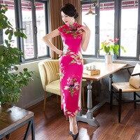 Yaz Zarif Ince Seksi Uzun Bayanlar Vintage Elbise Çin Kadınlar ipek Çiçek Cheongsam Qipao Tops Boyut M L XL XXL XXXL