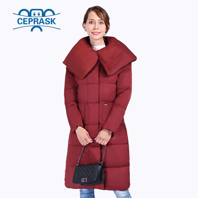 CEPRASK 2019 Nieuwe Hoge Kwaliteit Winter Jas Vrouwen Plus Size X-Lange Met Riem vrouwen Dikke Parka Winter jas Capuchon Donsjack