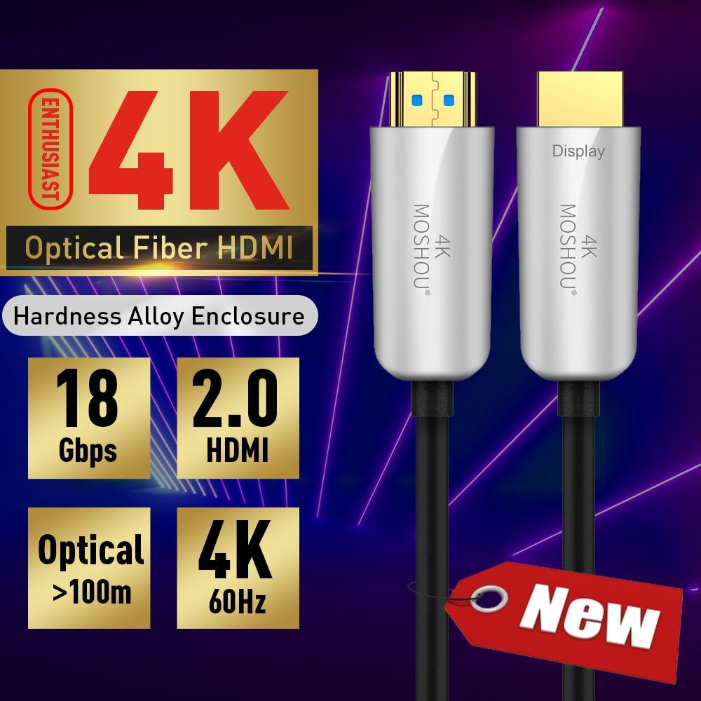 MOSHOU Passionné fibre optique HDMI 2.0 Câble HD 4 K Câble 60 GHz 18Gbs avec Audio et Ethernet HDMI Cordon Sans Perte HDMI Câble